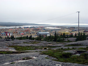 Whapmagoostui - Partial view of the village, as seen from the hills to the east