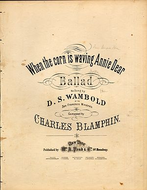 Charles Blamphin - Sheet music cover for When the Corn Is Waving, Annie Dear (1860)