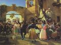 Wilhelm Marstrand - Romerske borgere forsamlet til lystighed i et osteri - 1839.png