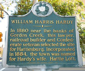 William H. Hardy - Image: William Harris Hardy Historical Marker