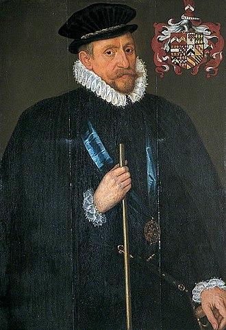 William Brooke, 10th Baron Cobham - Quartered arms of Sir William Brooke, 10th Baron Cobham, KG