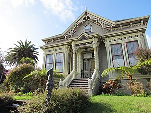 """Stick style - The William S. Clark House, a Stick-Eastlake """"cottage"""" in Eureka, California."""