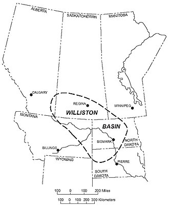 Hydraulic fracturing in Canada - Image: Williston Basin Location
