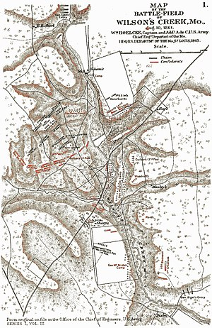 1st Arkansas Light Artillery - Ried's Arkansas Battery is depicted on the lower right hand part of the map of Wilson's Creek Battle Field. The other Arkanssa battery present at Wilson's Creek, Woodruff's Pulaski Light Artillery is depicted to the north of Reid's position.