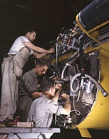 Wiring assemblies at a junction box on the fire wall of a B-25 bomber.jpg