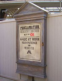 Themed billboards were located around the Wizarding World during the two-year construction period.