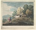 Wooded Landscape with Herdsmen Driving Cattle over a Bridge, Rustic Lovers and Ruined Castle MET DP819242.jpg