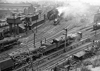 Worcester Shrub Hill railway station - Worcester Locomotive Depot in 1959
