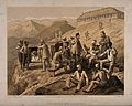 Wounded soldiers convalescing at Dugshai, Pakistan. Tinted l Wellcome V0015319.jpg