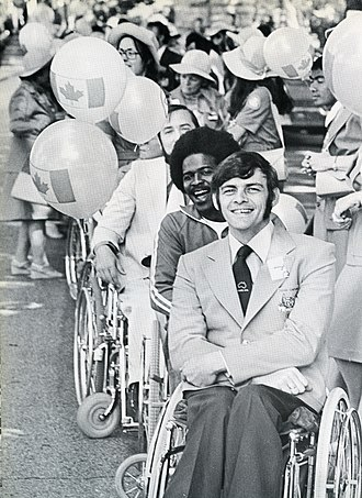 Australia at the 1976 Summer Paralympics - Gold medal winner Wayne Patchett at the Olympic Ceremony of the 1976 Paralympic Games.