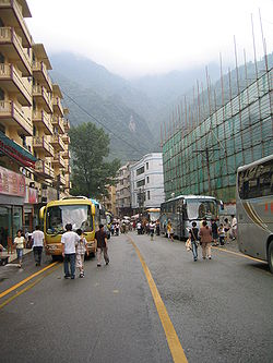 Street view of Yingxiu, July 2005.