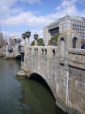 Yodoyabashi Station - City hall behind Yodoyabashi Bridge