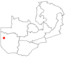 Location of Kalabo in Zambia