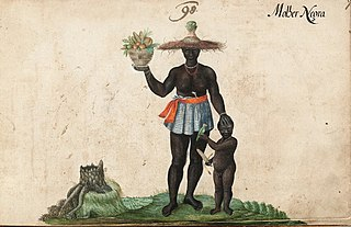 Molher Negra - Black woman with child and basket