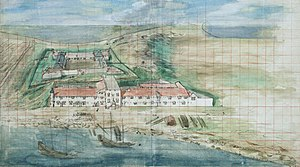 Siege of Fort Zeelandia - Painting of Fort Zeelandia in 1635, from The National Archives, The Hague, Netherlands