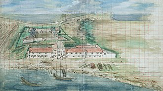 Fort Zeelandia (Taiwan) - Overview of Fort Zeelandia in Tainan, Taiwan, painted around 1635 (The Hague National Bureau of Archives, Netherlands)