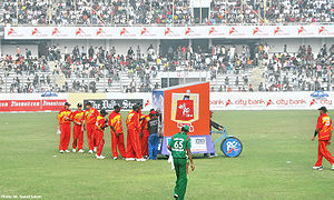 Zimbabwe national cricket team -  Zimbabwean players take the drinks break in their ODI match against Bangladesh at Sher-e-Bangla Cricket Stadium, Dhaka on 23 January 2009.