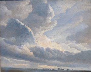 Simon Denis - Study of Clouds with a Sunset near Rome, oil on paper, now at the J. Paul Getty Museum