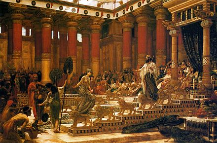 The Visit of the Queen of Sheba to King Solomon, oil on canvas painting by Edward Poynter, 1890 'The Visit of the Queen of Sheba to King Solomon', oil on canvas painting by Edward Poynter, 1890, Art Gallery of New South Wales.jpg