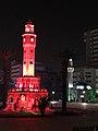 İzmir Clock Tower and Konak Mosque at night.jpg