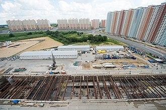 Nekrasovka (Moscow Metro) - Image: Строительство станции «Некрасовка» Кожуховской линии метрополитена (июнь 2016)