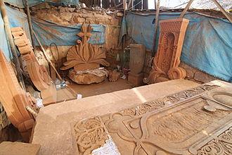 Khachkar - A modern-day khachkar carver's workshop in downtown Yerevan.