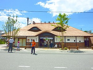 Tama (cat) - Kishi Station building, rebuilt to resemble a cat's face, August 2010