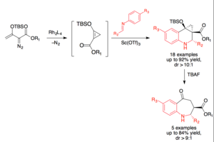 Povarov reaction - Image: 4+2 cycloaddition of donor acceptor cyclopropenes with aryl imines