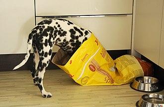 Paper bag - A multiwall bag of dog food