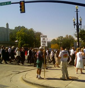 Anti-Mormonism - Protesters outside the site of the LDS general conference in 2006.