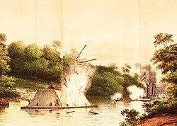 1. ZM Stoomschip Celebes in gevecht met een Kota Mara 6 aug 1859 Poeloe Kananat opgenomen.jpg