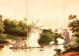 Banjarmasin War - Image: 1. ZM Stoomschip Celebes in gevecht met een Kota Mara 6 aug 1859 Poeloe Kananat opgenomen
