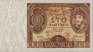 Bank of Issue in Poland - The 100 złoty note issued by the bank.