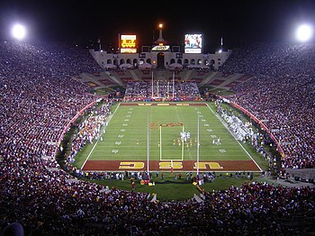 The Los Angeles Memorial Coliseum during a USC game