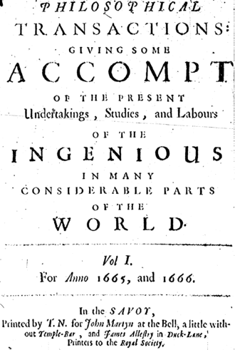 Scientific journal - Cover of the first volume of the Philosophical Transactions of the Royal Society, the first journal in the world exclusively devoted to science
