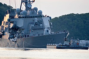 USS Fitzgerald and MV ACX Crystal collision - USS Fitzgerald returns to base after the collision