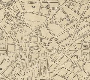 Cornhill, Boston - Image: 1832 Elm St map Boston Stimpson BPL10944