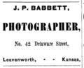 1866 J P Babbett photographer advert Leavenworth Kansas.png