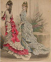 Dresses fitted the figure, and featured a long tiered, draped train.