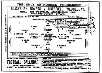 1890 FA Cup Final - The official match programme