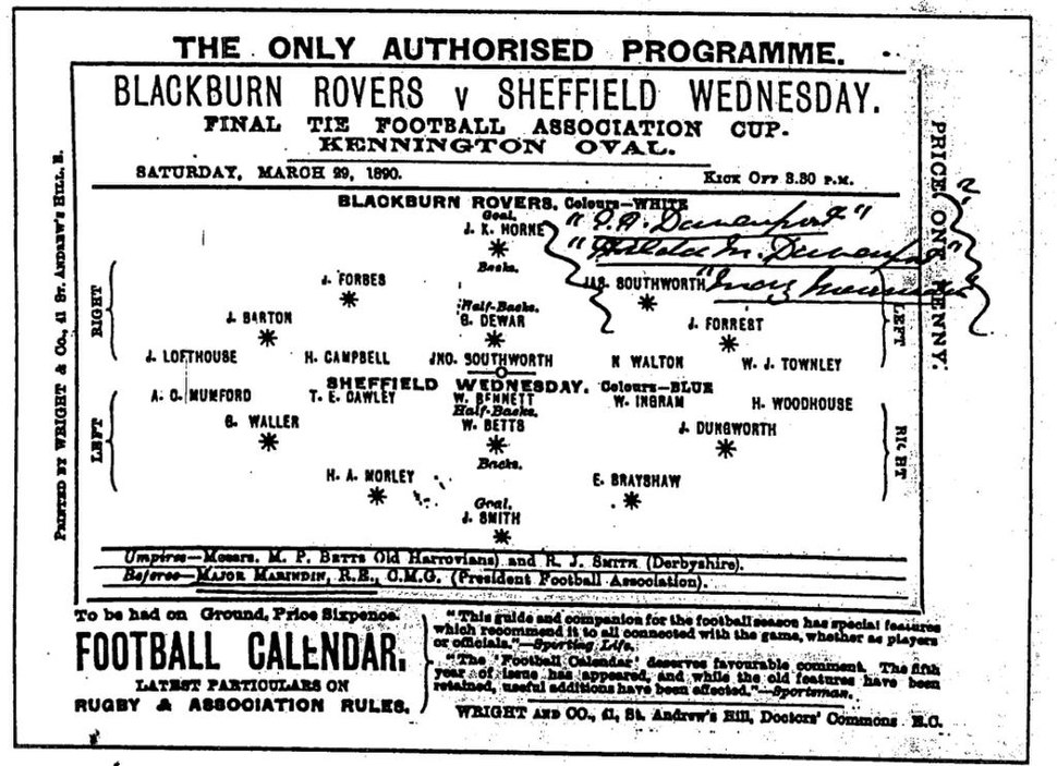 1890 FA Cup final official programme
