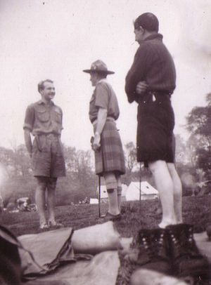 Thomas Corbett, 2nd Baron Rowallan - Scouts from the Norwegian Scout group 18. Bergen meet Lord Rowallan (center) in Gilwell Park, 1950.