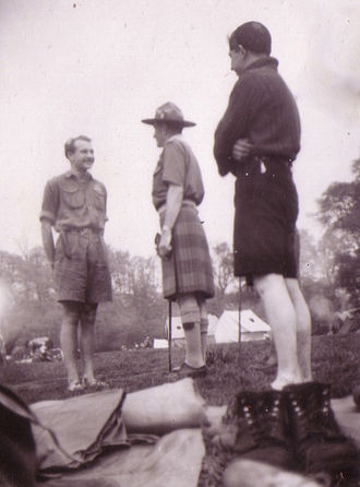 Gilwell Park - Scouts from the Norwegian Scout group 18. Bergen meet Chief Scout Lord Rowallan (centre) in Gilwell Park, 1950.