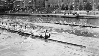 Rowing at the 1912 Summer Olympics – Men's eight - Leander Club (on the left) beating the Sydney Rowing Club