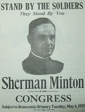 Sherman Minton -  1920 primary campaign poster for Minton
