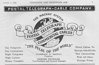 Postal Telegraph Company - 1921 Advertisement for the Postal Telegraph-Cable Company