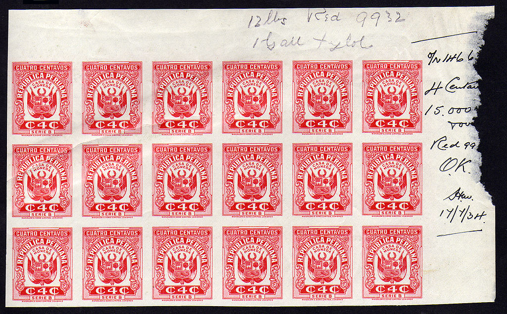 File:1934 proof Peru 4c revenue stamps Series B JPG