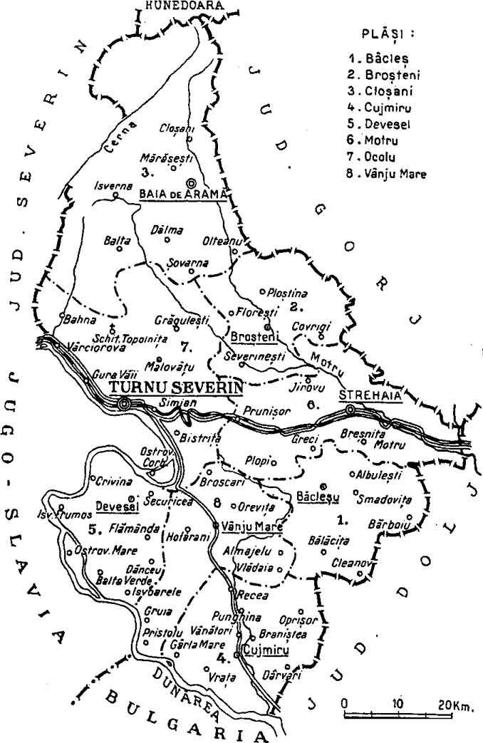 1938 map of interwar county Mehedinti
