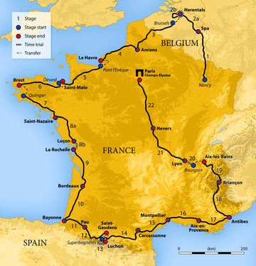 Map of France showing the path of the race starting in Nancy, moving through Luxembourg and Belgium, before a anticlockwise route around France and finishing in Paris