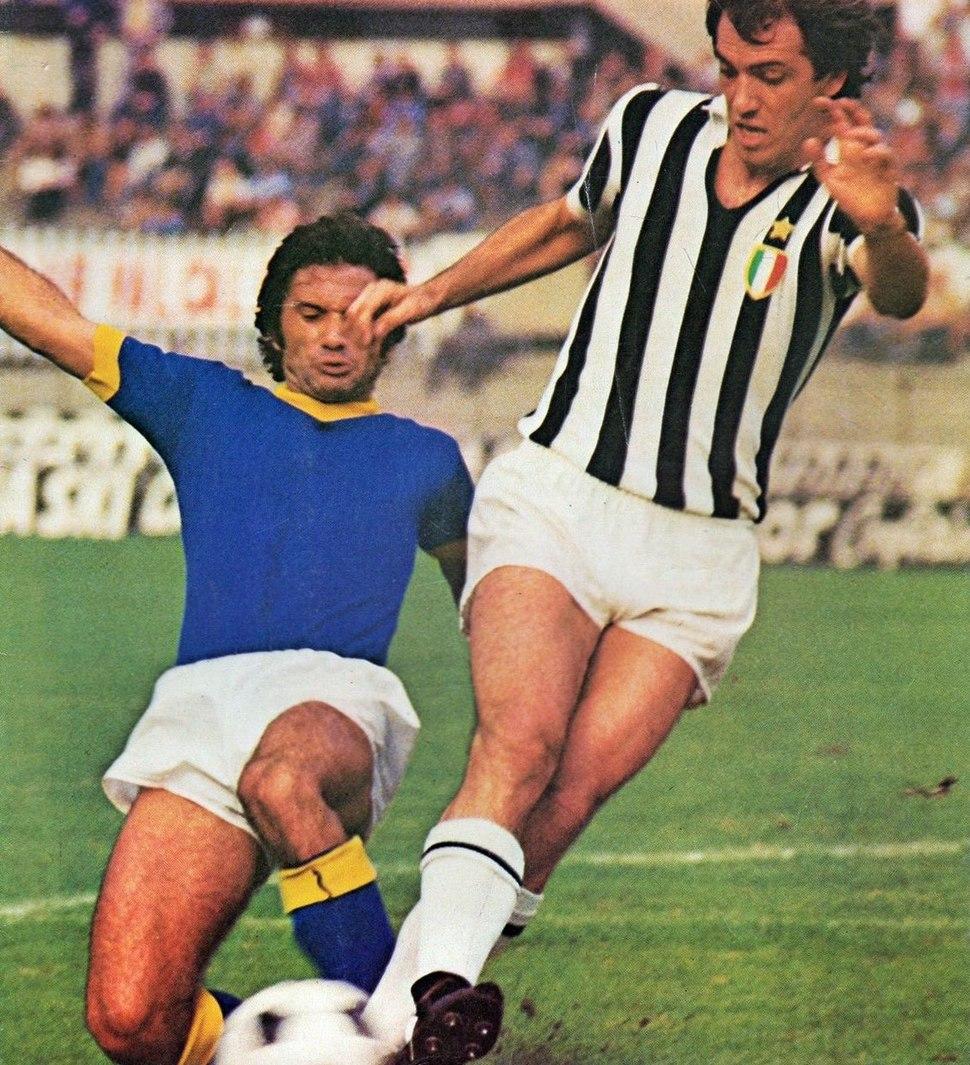 1975–76 Serie A - Juventus v Verona - Sergio Maddè, Roberto Bettega